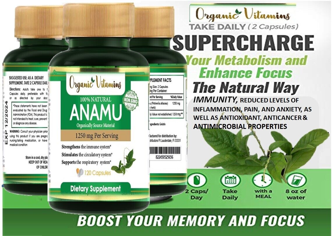 Natural Whole Herb Anamu PIlls 1250Mg Guinea Hen Weed 120 Capsules 2