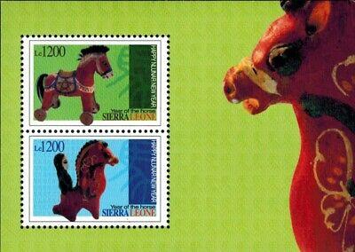 MODERN GEMS - Sierra Leone - Year of the Horse - Sheet of 2 - MNH