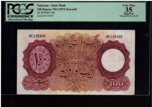 Pakistan State Bank 100 Rupees 1953 SCWPM#14B  PCGS 023
