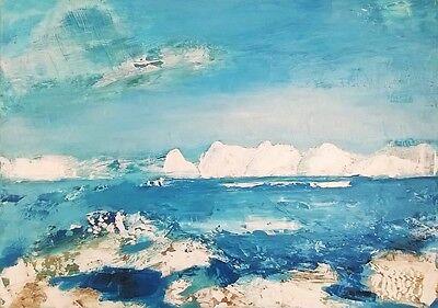 Original von Künstlerin, Bild, Acryl auf Leinwand, Gemälde, Arktis, 50x70cm