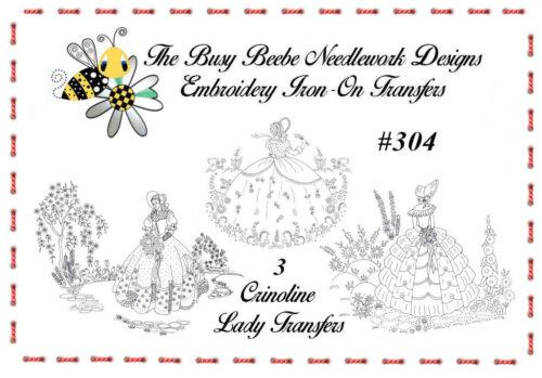 #304 - Crinoline Ladies Lady Garden Gal Belle Embroidery Iron-On Transfers