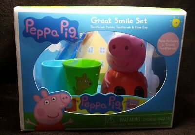 Peppa Pig Cup (Peppa Pig Great Smile Set~Toothbrush And Holder, Rinse Cup & Travel)