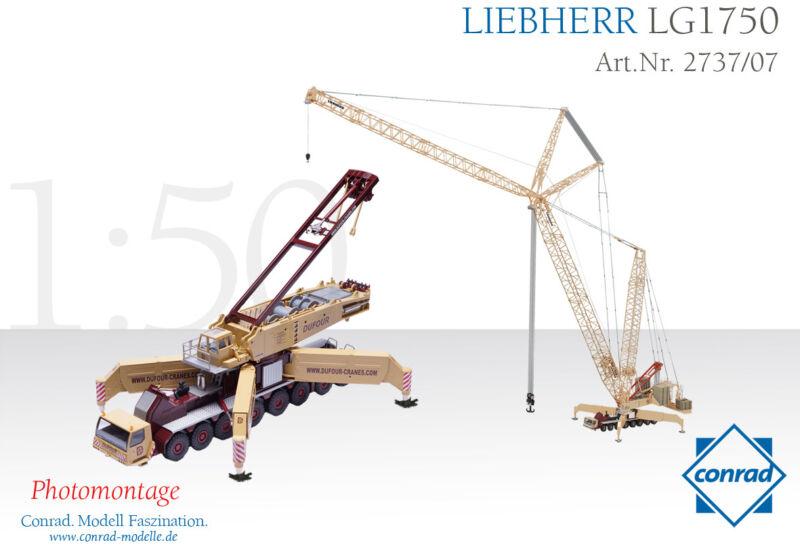 Conrad 2737-07 Liebherr LG1750 Lattice Boom Mobile Crane DuFour 1/50 O scale MIB