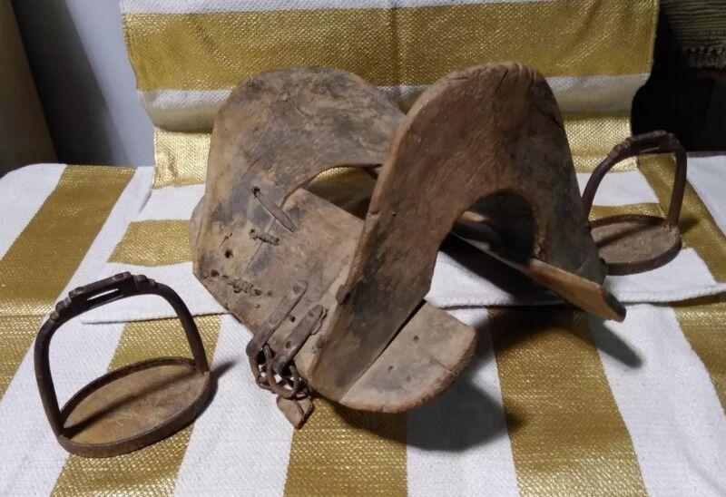Antique Mongolian Wooden Saddle With Iron Sturrups