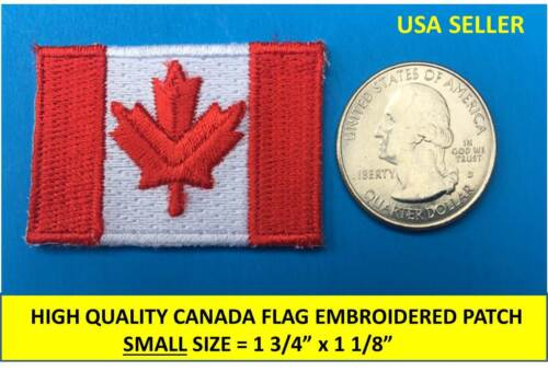 SMALL CANADIAN FLAG EMBROIDERED PATCH IRON-ON SEW-ON CANADA MAPLE LEAF RED