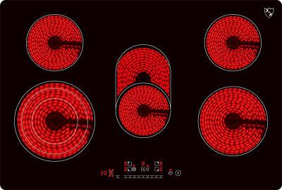 K&H® 5 Zonen Glaskeramikkochfeld 77cm Elektro Autark NC-8608