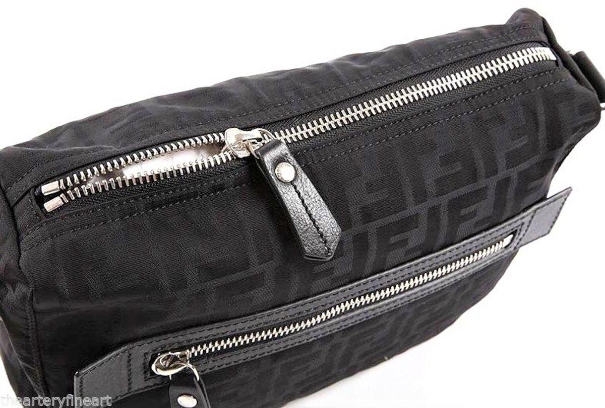 b2ee6284f0a ... FENDI Men s Small  FF  Logo Messenger Bag Black Zucca Jacquard Nylon  Leather NEW фото ...