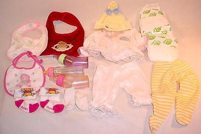 LOT OF VINTAGE CABBAGE PATCH DOLL CLOTHES DIAPERS BOTTLES BABY SO REAL GRACO