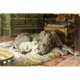 Vintage Painting Print On Canvas Dog Wolfhound Terrier Dicksee Ready to Hang