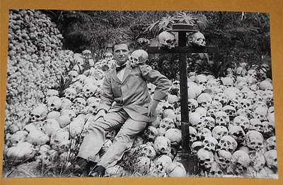 FREAKY SKULL HEADS Old 1 WEIRD ODD Man 4x6 Creepy Vintage Photo Image Horror L34