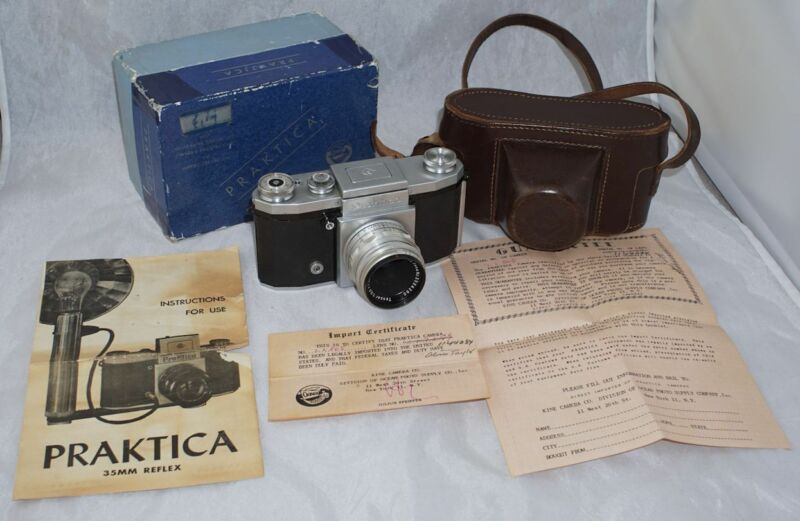 Praktica 35mm SLR Camera w/ Lens, Paperwork & Box