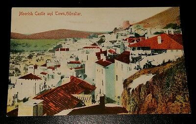 VINTAGE POSTCARD - MOORISH CASTLE AND TOWN, GIBRALTAR - EARLY 1900's
