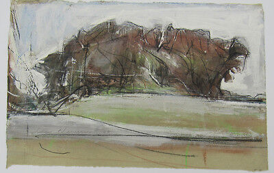 Signed dated abstract modernist mixed media landscape Newman? Herman?