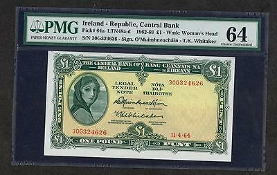 *1964 IRELAND REPUBLIC, CENTRAL BANK 1 POUND PICK #64a PMG 64 PLEASE LQQK!