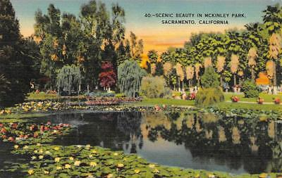 SACRAMENTO, CA California  LILY POND in MCKINLEY PARK  c1940's Linen Postcard for sale  Shipping to Canada