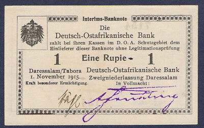 Ros. 916s Deutsch Ostafrika 1 Rupie Wz. Wintersche Papierfabrik kassenfrisch !!⓱