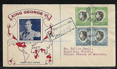 Cover South West Africa to California Via New York - 1937 -Scott 125 & 129 Pairs