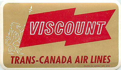 Viscount  Trans Canada  Gread Old Airline Luggage Label  C  1955