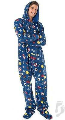 NWT Super Sports Adult Hoodie Hooded Footed Pajamas 1 PC MP/W *See Desc.for Size