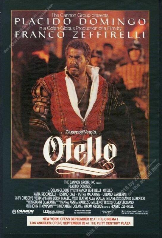 1986 Placido Domingo big photo Otello movie release vintage print ad