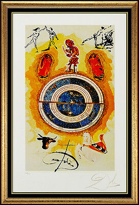 Salvador Dali Color Lithograph Hand Signed Wheel Of Fortune Tarot Card Artwork
