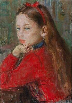 """DEVAL Pierre (1897-1993) """" Fillette au rubans rouge """" Toulon Orvès Provence"""