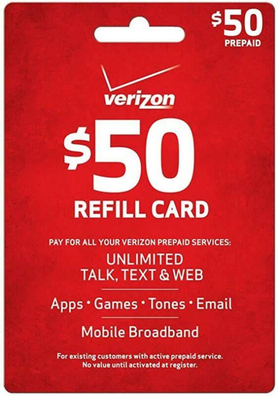 Verizon $50 Prepaid Refill No card read description