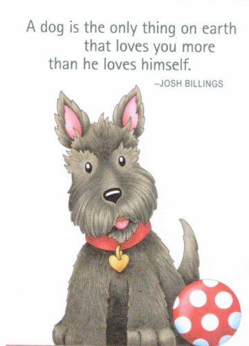DOG LOVES YOU MORE Scottie Terrier-Handcrafted Magnet-w/Mary Engelbreit art