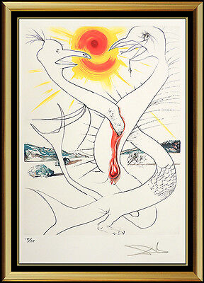 Salvador Dali Color Lithograph Hand Signed Surreal Artwork Conquest of Cosmos