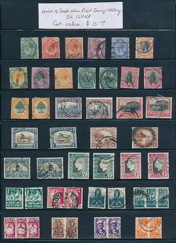 OWN PART OF SOUTH AFRICA POSTAL STAMP HISTORY. 52 ISSUES CAT VALUE 13.00 - $2.31