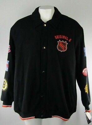 NHL Original 6 Men's Wool Blend Embroidered Snap Up Jacket 5XL 6XL (Nhl Wool Blend)