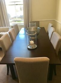 8 seater dark wood dining table and matching chair set