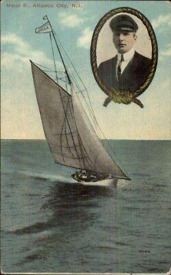 Atlantic City NJ Yacht Sailing Maud E w/ Captain c1910 Postcard