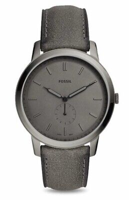 fossil watch men leather Quartz New Minimalist  Gray Case Leather Thin FS5445