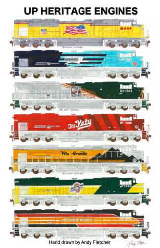 "Union Pacific Heritage Locomotives 11""x17"" Poster by Andy Fletcher signed"