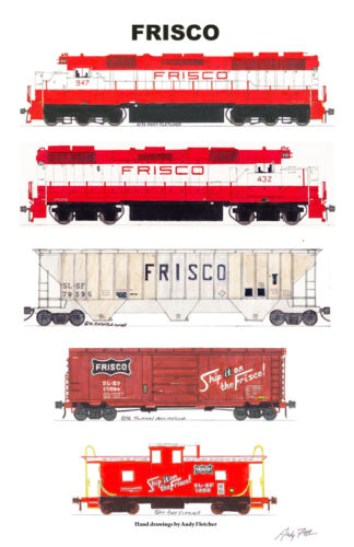 """Frisco 11""""x17"""" Railroad Poster Andy Fletcher signed"""