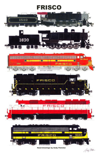 "Frisco Eras 11""x17"" Railroad Poster Andy Fletcher signed"