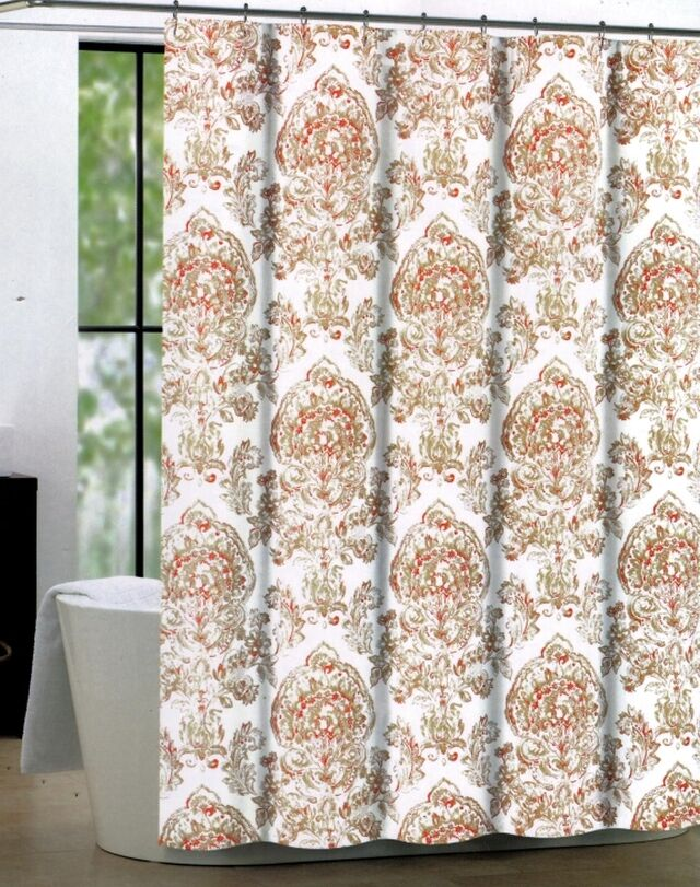 Tahari Shower Curtain Cognac Damask Floral Medallion White Coral ...