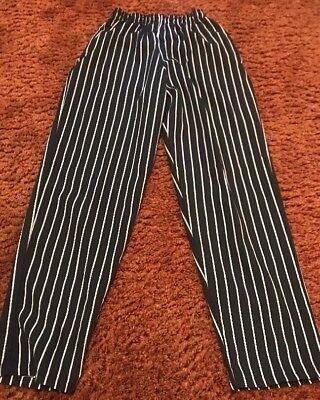 Chef Designs Medium Unisex Baggy Chalk Stripe Chef Pants Elastic Waist