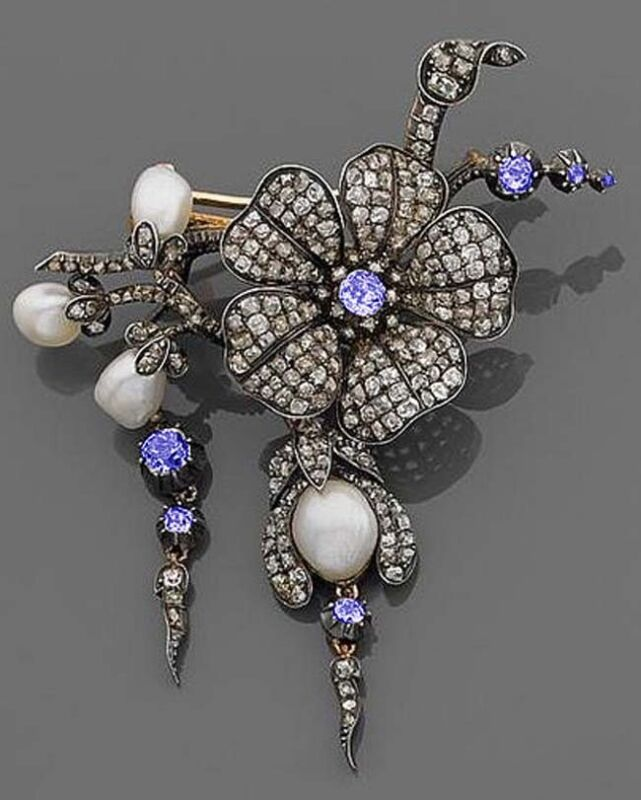 4.21ct ROSE CUT DIAMOND SAPPHIRE PEARL ANTIQUE VICTORIAN 925 SILVER BROOCH PIN