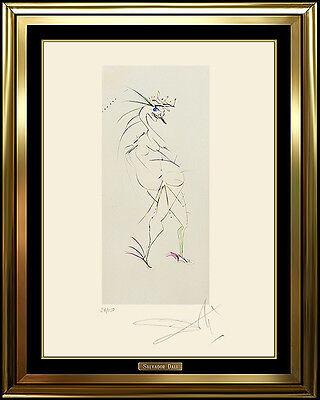 Salvador Dali Original Color Etching Authentic HAND SIGNED Surreal Nude Artwork