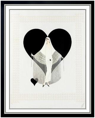 Erte Fringe Gown Embossed Color Serigraph Signed Large Art Deco Costume Design