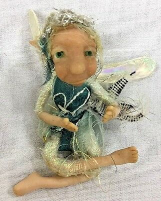 Handmade Polymer Clay Posable Sculpture Small Fairy Blond Hair/Green Eyes