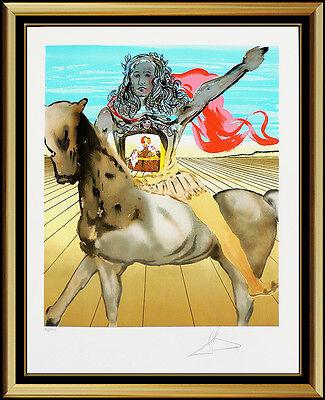 Salvador Dali Chevalier Surrealist Authentic Hand Signed Color Lithograph Horse