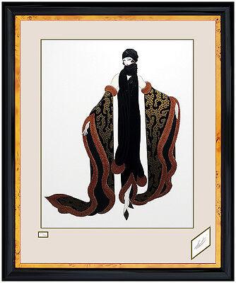 ERTE Serigraph Original Embossed Hand Signed Art Deco Costume Design Fox Fur SBO