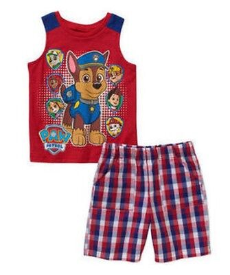 NEW Paw Patrol Tank Top Shorts Shirt Chase Marshall Rescue Pups Toddler Boys 4t