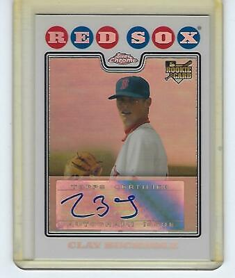 2008 Topps Chrome Autograph Refractors Clay Buchholz Rookie Card #229 Red -