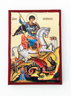 (Saint George small Goldprint Greek byzantine orthodox icon handmade)
