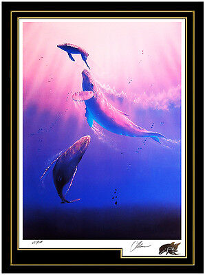 Christian Lassen Sea Down Original Large Color Lithograph Dolphins Signed Art