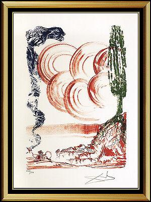 Salvador Dali Color Lithograph Hand Signed Calibri Atomo Large Surreal Artwork
